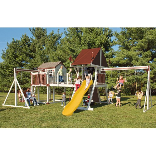 Swing Kingdom C8 Bridge Escape Playhouse Vinyl Swing Set