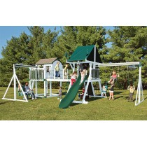 Vinyl Swing Set C8 Bridge Escape by Swing Kingdom  - White & Green - C8-wht-grn-210x210.jpg