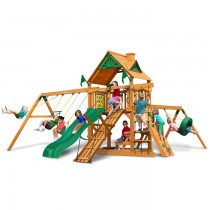 Frontier Swing Set With Wood Roof & Amber Posts