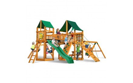 Pioneer Peak Cedar Swing Set w/ Amber Posts / Sunbrella Canvas Forest Green Canopy