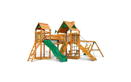 Pioneer Peak Cedar Swing Set With Amber Posts & Wood Roofs