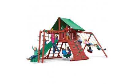 Sun Valley II Swing Set with Green Vinyl Tarp & Monkey Bars