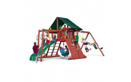 Sun Climber II Swing Set w/ Sunbrella Canvas Forest Green Canopy