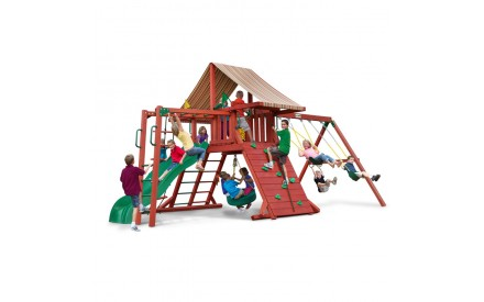 Sun Climber II Swing Set w/ Sunbrella Brannon Redwood Canvas w/ Monkey Bars