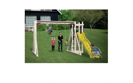 Swing Kingdom A1 Vinyl Swing Set - Almond Red & Yellow