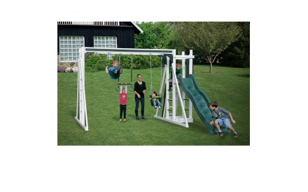 Vinyl Swing Set A1 by Swing Kingdom - White & Green