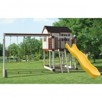 Swing Kingdom Hideout Playhouse Vinyl Swing Set Model C1 in Almond & Green - C1-hideout-swing-set-ayr-210x210.jpg