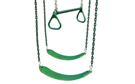Belt Swings & Trapeze Swing - 3 Position Accessory Kit in Green