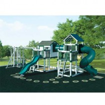 Swing Kingdom Tunnel Escape Playhouse Vinyl Swing Set - 4 Color Options - C3TE-white-green-210x210.jpg