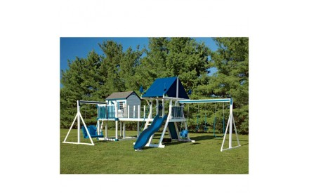 Vinyl Swing Set C8 Bridge Escape by Swing Kingdom  - White & Blue