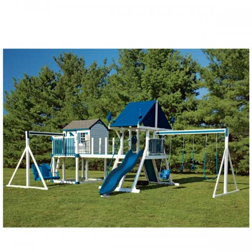 Swing kingdom c8 bridge escape playhouse vinyl swing set for Swing set bridge