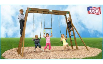 Classic Wooden Swing Set / Monkey Bars & Chained Accessories