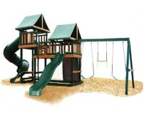 Kidwise Congo Monkey Playsystems #3 Swing Set Green & Sand