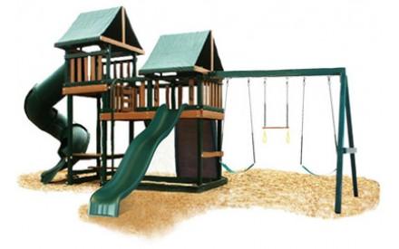 Kidwise Congo Monkey Playsystems #3 Swing Set Green & Sand