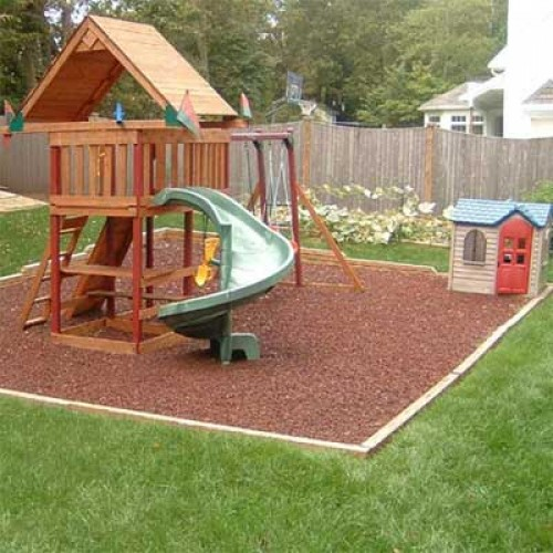 Kidwise Rubber Mulch Residential Swing Sets Backyard