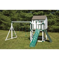 Swing Kingdom Hideout Playhouse Vinyl Swing Set Model C4 in White & Green - c4-white-green-210x210.jpg
