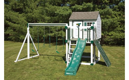 Swing Kingdom Hideout Playhouse Vinyl Swing Set Model C4 in White & Green