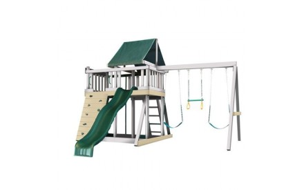 Kidwise Congo Monkey Playsystems  #1 Swing Set in White & Sand with Green Accessories