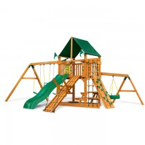 Frontier Swing Set w/ Amber Posts & Sunbrella Canvas Forest Green Canopy