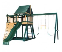 Kidwise Congo Monkey Playsystems  #1 Swing Set in Green & Sand