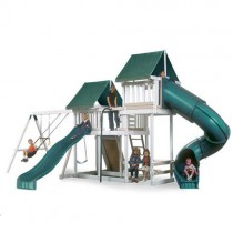 Kidwise Congo Monkey Playsystems #3 Swing Set In White & Sand with Green Accessories